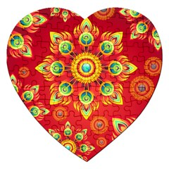 Red and Orange Floral Geometric Pattern Jigsaw Puzzle (Heart)