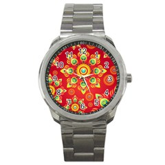 Red and Orange Floral Geometric Pattern Sport Metal Watch
