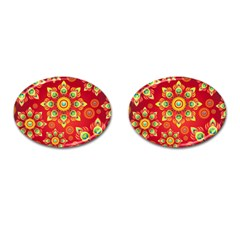 Red and Orange Floral Geometric Pattern Cufflinks (Oval)