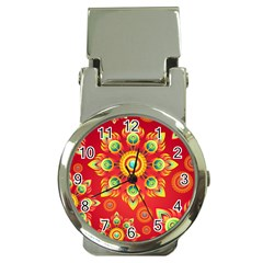 Red and Orange Floral Geometric Pattern Money Clip Watches