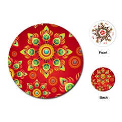 Red and Orange Floral Geometric Pattern Playing Cards (Round)