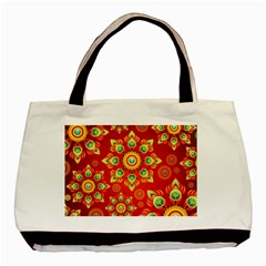 Red and Orange Floral Geometric Pattern Basic Tote Bag