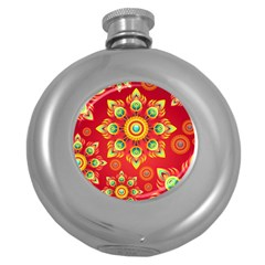 Red and Orange Floral Geometric Pattern Round Hip Flask (5 oz)