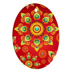 Red and Orange Floral Geometric Pattern Oval Ornament (Two Sides)
