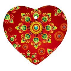 Red and Orange Floral Geometric Pattern Heart Ornament (Two Sides)