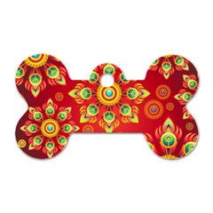 Red and Orange Floral Geometric Pattern Dog Tag Bone (One Side)