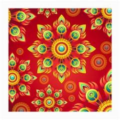 Red and Orange Floral Geometric Pattern Medium Glasses Cloth