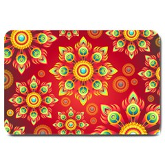 Red and Orange Floral Geometric Pattern Large Doormat