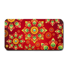 Red and Orange Floral Geometric Pattern Medium Bar Mats