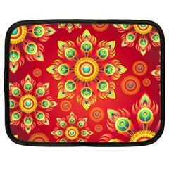 Red and Orange Floral Geometric Pattern Netbook Case (Large)
