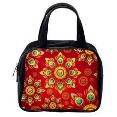 Red and Orange Floral Geometric Pattern Classic Handbags (One Side)