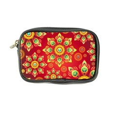 Red and Orange Floral Geometric Pattern Coin Purse