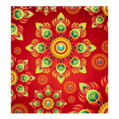 Red and Orange Floral Geometric Pattern Shower Curtain 66  x 72  (Large)