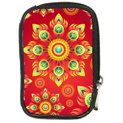 Red and Orange Floral Geometric Pattern Compact Camera Cases