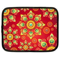 Red and Orange Floral Geometric Pattern Netbook Case (XXL)
