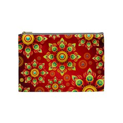 Red and Orange Floral Geometric Pattern Cosmetic Bag (Medium)