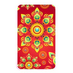 Red and Orange Floral Geometric Pattern Memory Card Reader