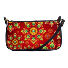 Red and Orange Floral Geometric Pattern Shoulder Clutch Bags