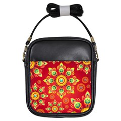 Red and Orange Floral Geometric Pattern Girls Sling Bags