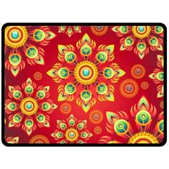 Red and Orange Floral Geometric Pattern Fleece Blanket (Large)