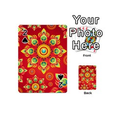 Red and Orange Floral Geometric Pattern Playing Cards 54 (Mini)