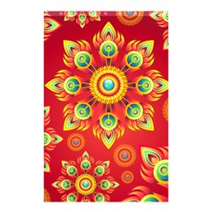 Red and Orange Floral Geometric Pattern Shower Curtain 48  x 72  (Small)