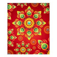 Red and Orange Floral Geometric Pattern Shower Curtain 60  x 72  (Medium)