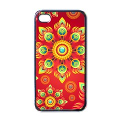 Red and Orange Floral Geometric Pattern Apple iPhone 4 Case (Black)