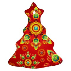 Red And Orange Floral Geometric Pattern Ornament (christmas Tree)