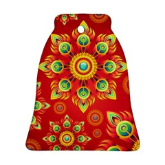 Red and Orange Floral Geometric Pattern Bell Ornament (Two Sides)