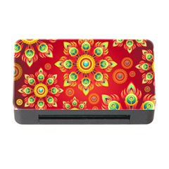 Red and Orange Floral Geometric Pattern Memory Card Reader with CF