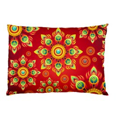Red and Orange Floral Geometric Pattern Pillow Case (Two Sides)