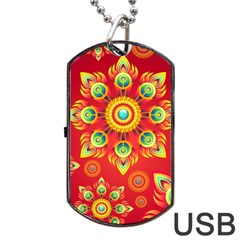 Red and Orange Floral Geometric Pattern Dog Tag USB Flash (One Side)