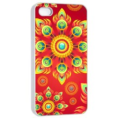 Red and Orange Floral Geometric Pattern Apple iPhone 4/4s Seamless Case (White)