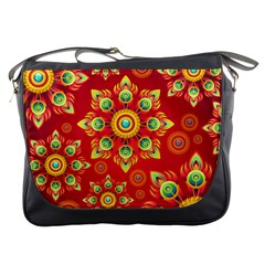 Red and Orange Floral Geometric Pattern Messenger Bags