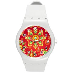 Red and Orange Floral Geometric Pattern Round Plastic Sport Watch (M)