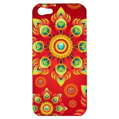 Red and Orange Floral Geometric Pattern Apple iPhone 5 Hardshell Case