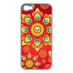 Red and Orange Floral Geometric Pattern Apple iPhone 5 Case (Silver)