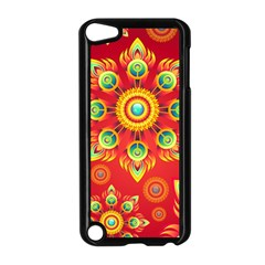 Red and Orange Floral Geometric Pattern Apple iPod Touch 5 Case (Black)