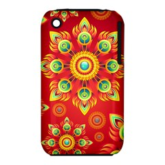 Red and Orange Floral Geometric Pattern iPhone 3S/3GS