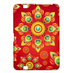 Red and Orange Floral Geometric Pattern Kindle Fire HD 8.9
