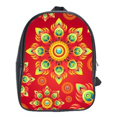 Red and Orange Floral Geometric Pattern School Bags (XL)