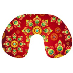 Red and Orange Floral Geometric Pattern Travel Neck Pillows