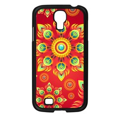 Red and Orange Floral Geometric Pattern Samsung Galaxy S4 I9500/ I9505 Case (Black)