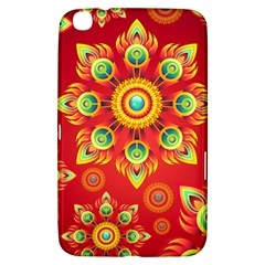 Red and Orange Floral Geometric Pattern Samsung Galaxy Tab 3 (8 ) T3100 Hardshell Case