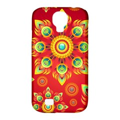 Red and Orange Floral Geometric Pattern Samsung Galaxy S4 Classic Hardshell Case (PC+Silicone)
