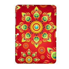 Red and Orange Floral Geometric Pattern Samsung Galaxy Tab 2 (10.1 ) P5100 Hardshell Case