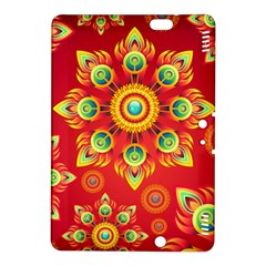 Red and Orange Floral Geometric Pattern Kindle Fire HDX 8.9  Hardshell Case