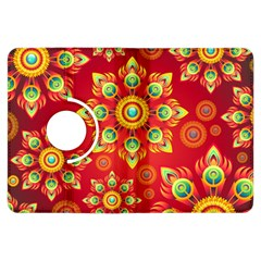 Red and Orange Floral Geometric Pattern Kindle Fire HDX Flip 360 Case