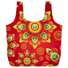 Red and Orange Floral Geometric Pattern Full Print Recycle Bags (L)